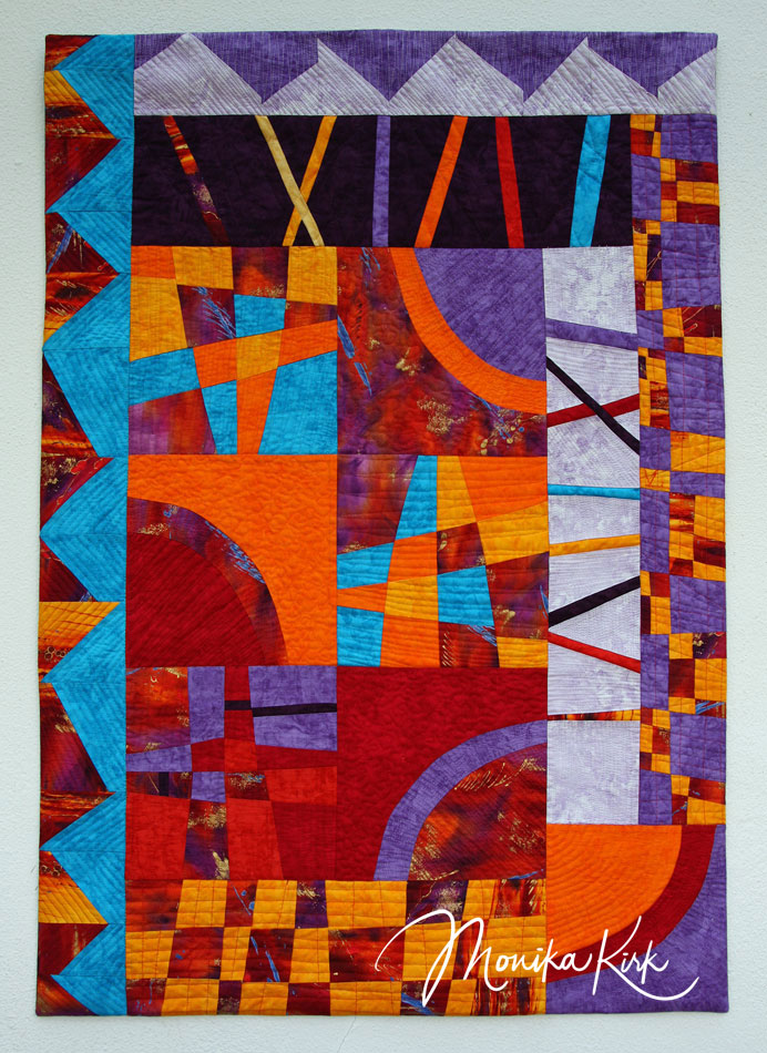 Kontraste (2011)75 x 100 cmEntstanden in Pias Quiltwerkstatt zum Thema Quadrate, Linien, Dreiecke